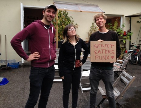 Philipp (Contraszt! Records, STATIC ME, FINISTIERRE), Megan, and Simon (LAMBS) at the Wippermannstrasse Compound shortly after arriving in Cologne, Germany