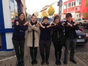 LEVITATIONS and STREET EATERS flashing the sign of the mysterious/deadly CC In Hanover, Germany