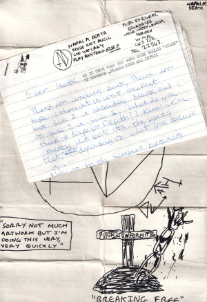 letter from Napalm Death (click for larger version)